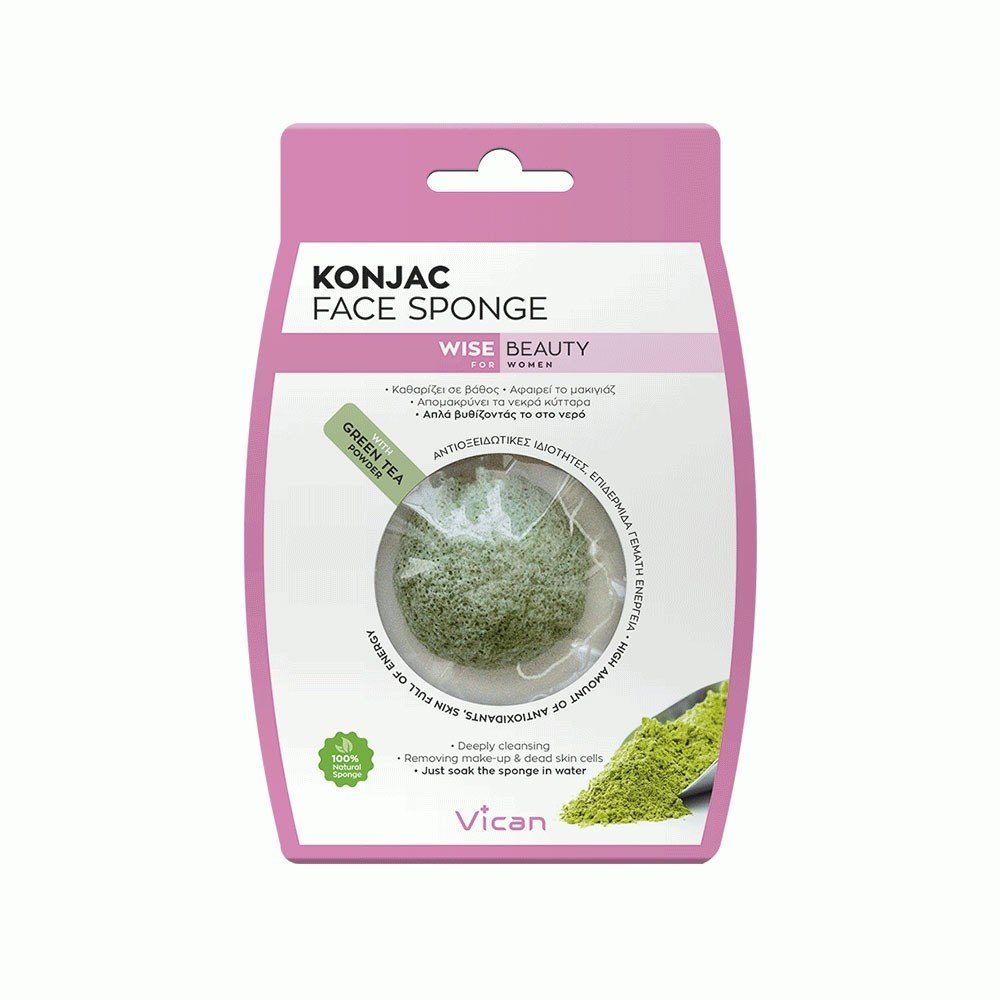 VICAN WISE BEAUTY - KONJAC FACE SPONGE GREEN TEA POWDER