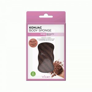 VICAN WISE BEAUTY - KONJAC BODY SPONGE RED CLAY POWDER